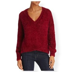 Beltaine   Red Fuzzy V-neck Slouch Sweater Sz M